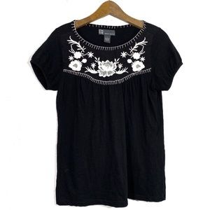 Chelsea & Theodore Black Embroidered Smock Top